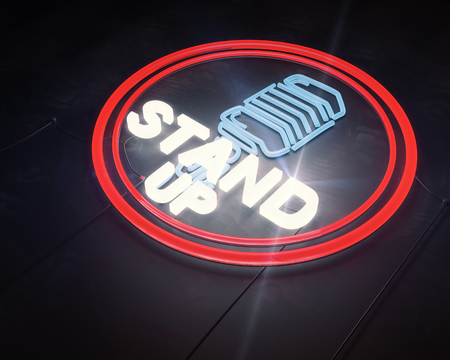 Close up of illuminated retro stand up microphone icon on dark background. Laughter concept. 3D Rendering
