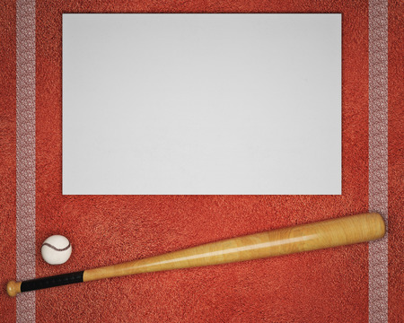 Top view of baseball and bat on textured red background with blank banner. Sports concept. Mock up, 3D Rendering