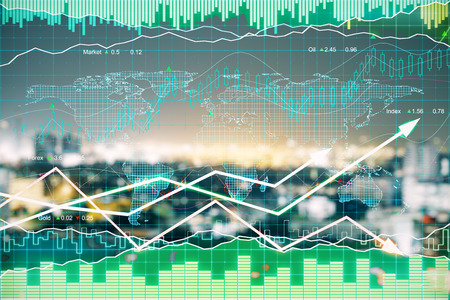 Forex chart on blurry night city background. Finance concept. Double exposure
