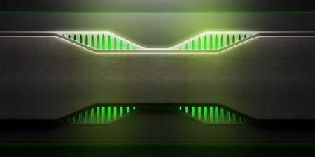 Front view of futuristic illuminated green board. Technology concept. 3D Rendering 版權商用圖片