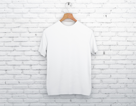 Wooden hanger with empty white t-shirt hanging on light concrete background. Apparel concept. Mock up. 3D Rendering