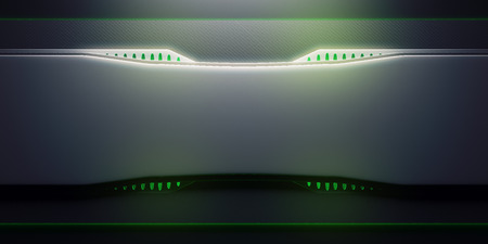 Front view of futuristic bright green panel. Technology concept. 3D Rendering