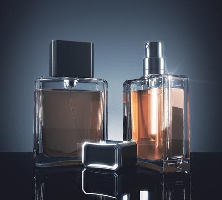 Lichte parfumflesjes met reflecties op donkere achtergrond. 3D-weergave