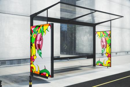 描かれたカラフルなパターンを持つガラス バス停。ストリート アートのコンセプトです。3 D レンダリング