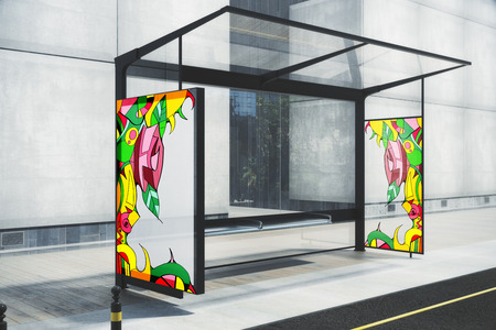 Glass bus stop with drawn colorful pattern. Street art concept. 3D Rendering Zdjęcie Seryjne