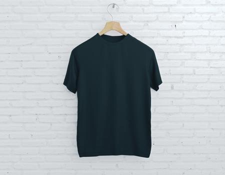 cintre en bois avec un t-shirt blanc vide accroché sur fond de brique légère . concept de mode. rendu 3d rendu
