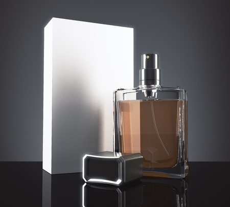 fragrant: Light perfume bottle and packaging box with reflections on dark background. 3D Rendering