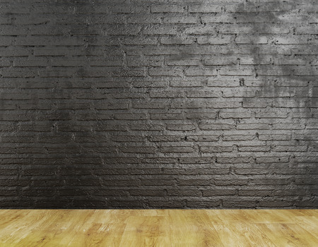 Unfurnished interior with textured brick wall and wooden floor. Mock up, 3D Rendering