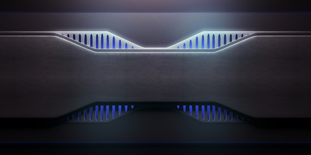 Front view of futuristic illuminated blue panel. Technology concept. 3D Rendering