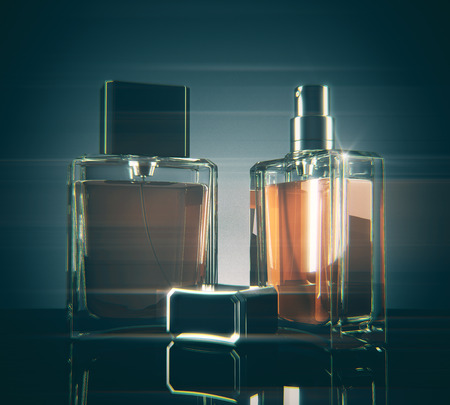 Light fragrance bottles with reflections on dark background. 3D Rendering Stock Photo - 81170099