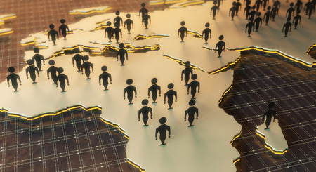 social gathering: Close up of map with abstract people figures on dark grid background. Network concept. 3D Rendering