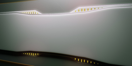 Side view of abstract illuminated yellow board. Future concept. 3D Rendering Banco de Imagens