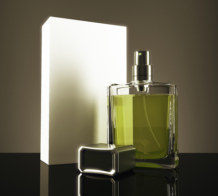 Green perfume bottle and packaging box with reflections on dark background. 3D Rendering Reklamní fotografie