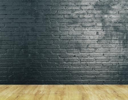 Interno camera non arredato con muro di mattoni testurizzati e pavimento in legno. Mock up, rendering 3D Archivio Fotografico - 80939449