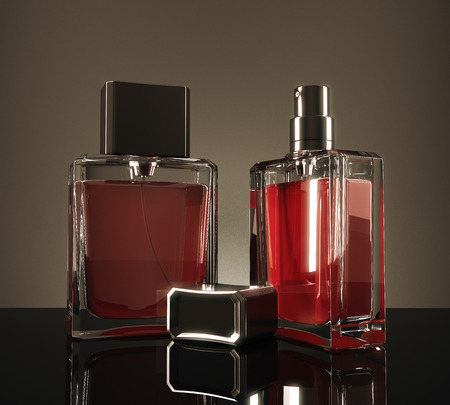Red perfume bottles with reflections on dark background. 3D Rendering