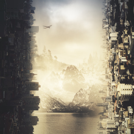 Abstract sideways city and landscape wallpaper
