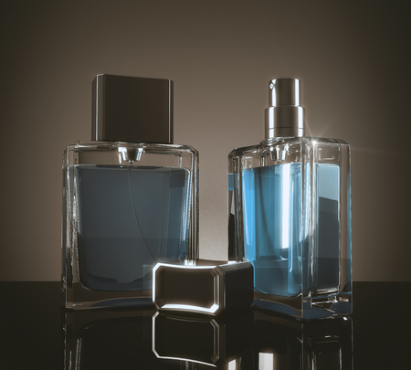 Blue perfume bottles with reflections on dark background. 3D Rendering Stock Photo