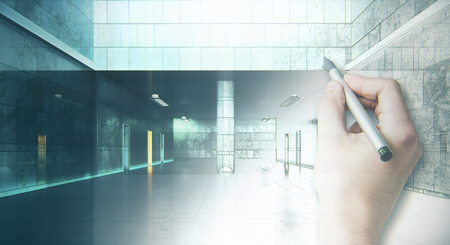 Hand drawing unfinished grunge hallway interior. Engineering concept. 3D Rendering