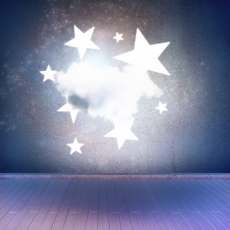 Blue space stage with cloud and stars. 3D Rendering
