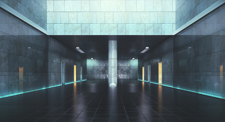Abstract concrete subway interior. 3D Rendering