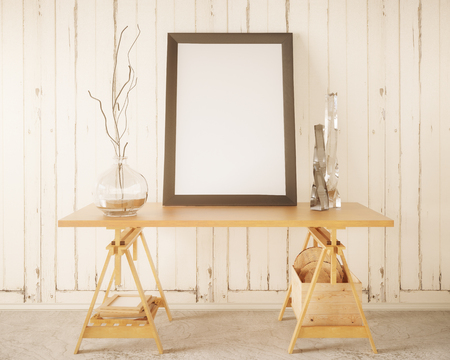 Front view of wooden table with blank banner and decorative items in white interior with plank wall. Mock up, 3D Rendering Stock Photo
