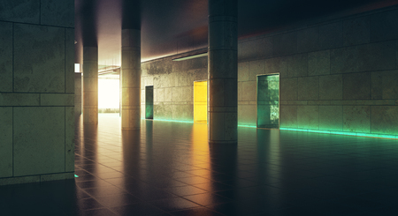 Dark corridor with sunlight. Grunge interior. 3D Rendering Stok Fotoğraf