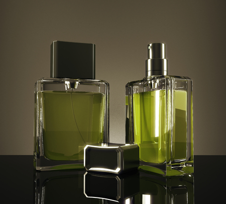 Green fragrance bottles with reflections on dark background. 3D Rendering