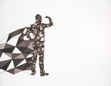 Abstract polygonal hero with cape looking into the distance on white background with copy space. 3D Rendering Banco de Imagens