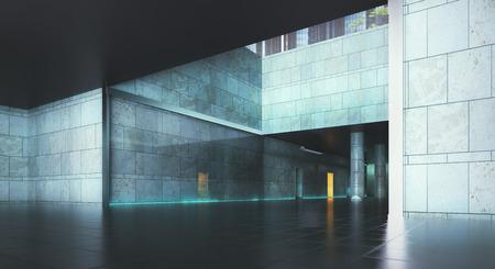 추상 콘크리트 grunge 인테리어입니다. 3D 렌더링