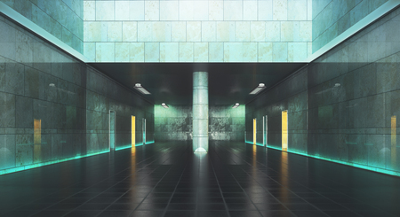 抽象的なコンクリートの地下のインテリア。3 D レンダリング