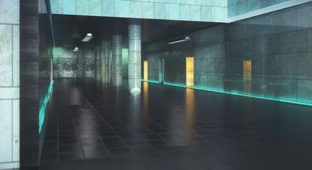 Grungy concrete hallway interior. 3D Rendering