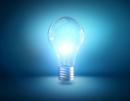 Bright lamp on blue background. Enlightenment concept. 3D Rendering