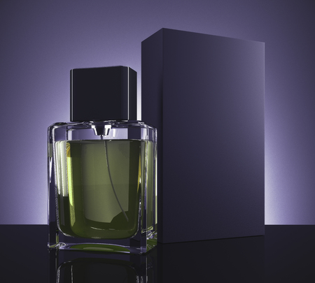 Male perfume and carton packaging on dark purple background. Retail concept. Mock up, 3D Rendering