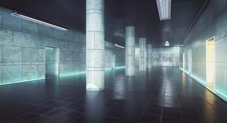 지저분한 콘크리트 홀 내부입니다. 3D 렌더링