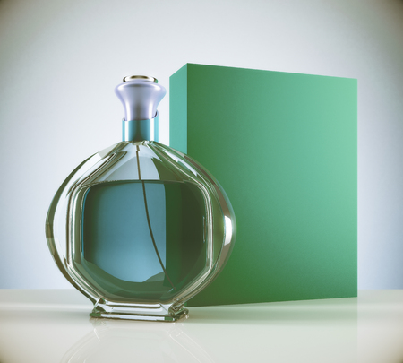 Green female perfume and empty carton package on light background. Glamour advertising concept. Mock up, 3D Rendering Reklamní fotografie