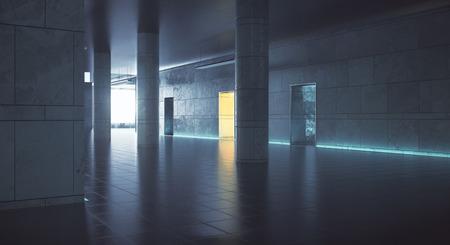 일광이있는 어두운 복도. 그런 지 인테리어입니다. 3D 렌더링 스톡 콘텐츠