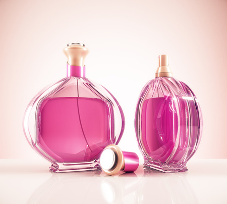 Two pink female fragrance bottle and cap on light background with reflections. Lifestyle and fashion concept. 3D Rendering