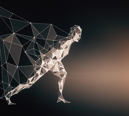 Vue latérale du héros en cours d'exécution polygonale avec Cap sur fond sombre. Rendu 3D Banque d'images - 81368732