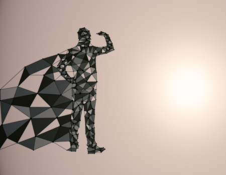 Abstract polygonal hero with cape looking into the distance on light background with copy space. 3D Rendering Stock Photo