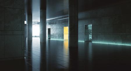 Dark hallway with sunlight. Grunge interior. 3D Rendering