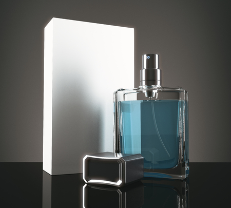 Blue perfume bottle and packaging box with reflections on dark background. 3D Rendering