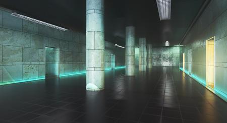 汚れたコンクリートの廊下のインテリア。3 D レンダリング