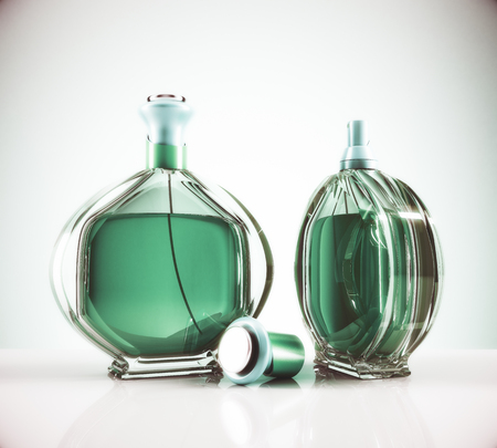 Two green female perfume bottle and cap on light background with reflections. Lifestyle and fashion concept. 3D Rendering
