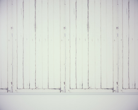 Front view of blank aged white wood wall. Ad concept. Mock up, 3D Rendering Stock Photo