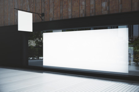 Side view of empty showcase with billboard and stopper. Advertisement concept. Mock up, 3D Rendering