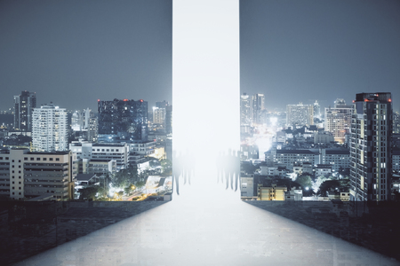 Abstract interior with bright opening, people figures and night city view. Teamwork concept. Double exposure