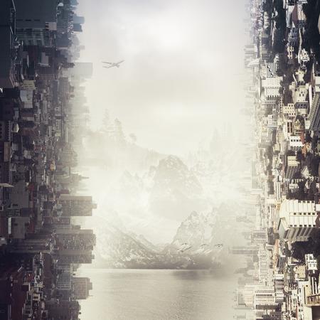 抽象の横都市と風景の背景