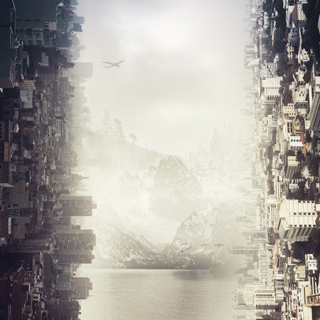 Abstract sideways city and landscape backdrop