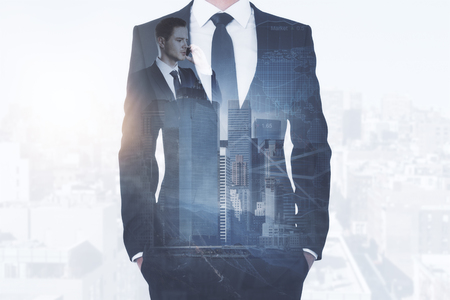 Businessman talking on the phone on abstract city background with forex chart and copy space. Communication concept. Double exposure Stock fotó