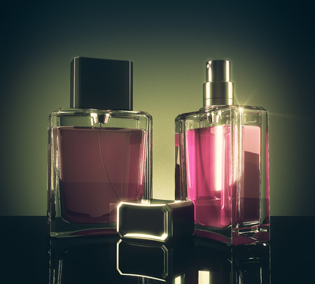 Pink perfume bottles with reflections on dark background. 3D Rendering Reklamní fotografie